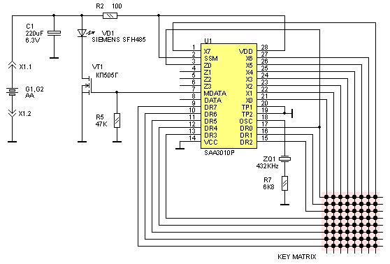 Принципиальная схема пульта RC-5