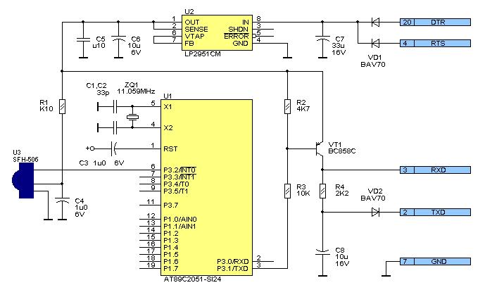 Преобразователь RC-5 в RS-232